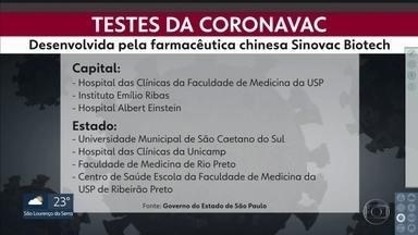 SP terá sete centros de testagem de vacina contra coronavírus - Batizada como Coronavac, medicamento ainda em fase de testes foi desenvolvida por um labortório chinês, em parceria com o Instituto Butantã.