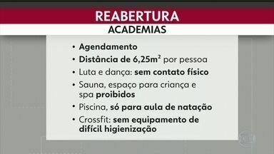 Academias reabrem hoje no Rio - Pela 3ª fase do plano da prefeitura para reabertura da economia do Rio hoje reabrem as academias com várias restrições, aulas agendadas e distanciamento.