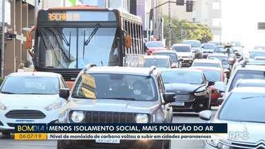 Aumentou a poluição do ar depois que isolamento social diminuiu - Nível de monóxido de carbono voltou a subir em cidades paranaenses.