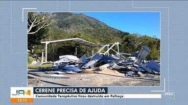 Comunidade Terapêutica fica destruída em Palhoça - Comunidade Terapêutica fica destruída em Palhoça