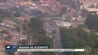 Manhã de quinta-feira tem vários acidentes em BH e Região Metropolitana - Um motociclista e um pedestre morreram atropelados.