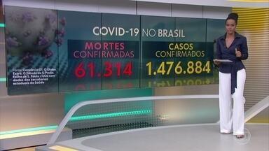 Brasil tem 1.476.884 casos confirmados de Covid-19 e 61.314 óbitos, segundo consórcio - O Brasil tem 61.314 mortes por coronavírus confirmadas até as 13h desta quinta-feira (2), aponta um levantamento feito pelo consórcio de veículos de imprensa a partir de dados das secretarias estaduais de Saúde.