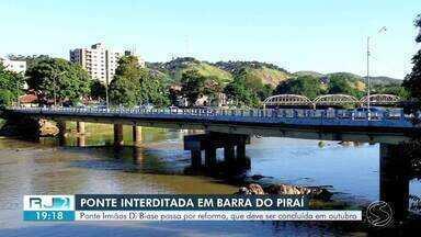 Ponte Irmãos Di Biase, em Barra do Piraí, será interditada para obra de infraestrutura - Serviços começam nesta quinta-feira e a previsão é que estrutura seja entregue em outubro. Bloqueio na ponte muda o trajeto para linhas de ônibus, veículos pesados e carros de passeio.