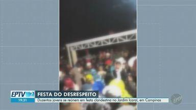 Coronavírus: Guarda Municipal de Campinas interrompe festa clandestina no Jardim Icaraí - Segundo a prefeitura, 200 jovens se aglomeravam no evento. Guarda interrompeu a festa promovida nesta sexta-feira (3), multou e apreendeu um veículo.