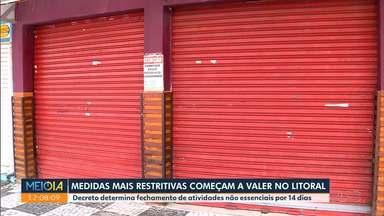 Medidas mais restritivas começam a valer no litoral - Decreto determina fechamento de atividades não essenciais por 14 dias. Região tem mais de mil casos de coronavírus confirmados.