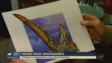 Conheça um paleoartista de Uberaba e suas obras fantásticas - O trabalho de Marcelo Ferri é baseado em sua paixão pelos dinossauros.