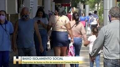 Mato Grosso do Sul está entre os estados onde o número de mortes está aumentando - O baixo isolamento social preocupa. No fim de semana aconteceram vários flagrantes de festas.