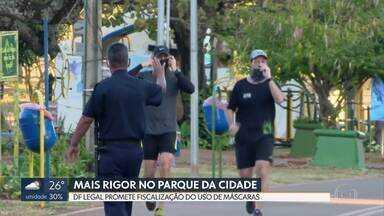 DF Legal promete intensificar a fiscalização do uso de máscaras no Parque da Cidade - Ministério Público do DF constatou em vistoria, que o Parque é o local onde o brasiliense mais desrespeita a obrigatoriedade do uso da proteção.