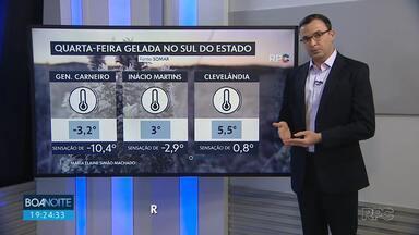 Paraná registra temperaturas abaixo de zero no sul do estado - Sensação térmica foi grande em General Carneiro.