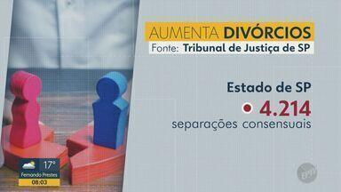 Covid-19: número de divórcios em junho aumenta em 15% em relação ao ano passado - Segundo o Tribunal de Justiça do Estado de São Paulo, número de divórcios aumentou em comparação com o mesmo período em 2019. Um dos motivos pode ser a convivência dos casais em meio a quarentena.