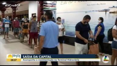 Veja o movimento de saída da cidade dos terminais de Belém - Veja o movimento da população rumo aos balneários.