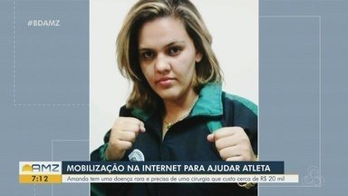 Amigos realizam mobilização na internet para ajudar atleta - Amanda tem uma doença rara e precisa de uma cirurgia que custa R$ 20 mil.