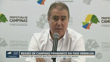 Coronavírus: Campinas segue na fase vermelha do plano de retomada, diz prefeitura - Prefeito Jonas Donizette informou que região se mantém na etapa que obriga fechamento do comércio, com exceção dos serviços essenciais. Cidade chegou a 528 mortes por Covid-19.