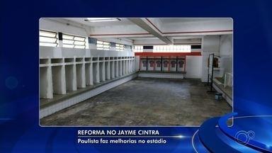 Diretoria do Paulista faz melhorias na estrutura física do estádio Jayme Cintra - Sem previsão de retorno aos treinos, o Paulista de Jundiaí (SP) segue parado. Enquanto isso, a nova diretoria tem feito melhorias na estrutura física do estádio Jayme Cintra.