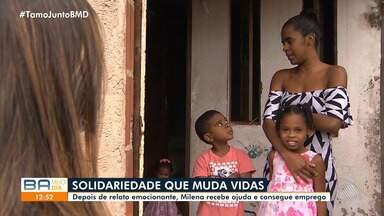 Após apelo emocionado, jovem mãe Milena recebe ajuda e consegue um trabalho - Confira.