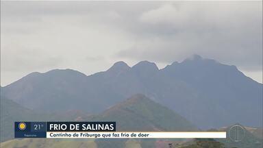 Região de Salinas é considerada a mais fria de Nova Friburgo, RJ - Para demonstrar as baixas temperaturas, equipe tenta fazer uma gelatina ao ar livre.