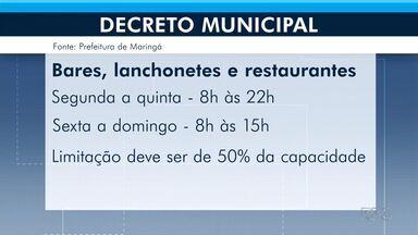 Novo decreto em Maringá volta a ampliar horários de estabelecimentos - Serviços de alimentação podem abrir à noite e estabelecimentos voltam a abrir nos fins de semana.