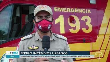 Corpo de Bombeiros de Santarém tem recebido mais chamados para conter queimadas - Atitude de atear fogo afeta diretamente boa parte dos moradores com a fumaça.