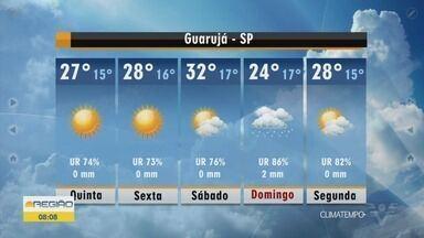 Confira a previsão do tempo para essa quinta-feira - Previsão é de sol na Baixada Santista.