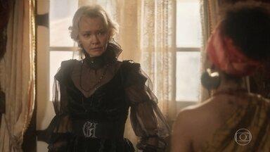 Diara e Greta têm um embate por causa de Ferdinando - A esposa de Wolfgang pede que Greta pare com as falsas insinuações e ameaça expulsá-la de sua casa