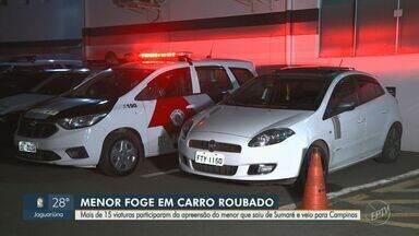 Adolescente é apreendido com carro roubado após perseguição entre Sumaré e Campinas - Jovem, de 15 anos, afirmou que receberia R$ 300 para transportar o veículo. Durante a fuga, ele bateu em pelo menos cinco automóveis.