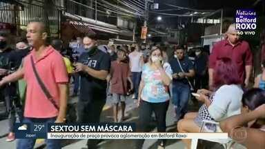 Inauguração de praça em Belford Roxo provoca aglomeração - O prefeito Waguinho do MDB, falou com os moradores sem máscara. A mulher dele, a deputada Daniela do Waguinho, do mesmo partido, também tirou a proteção para falar com os moradores.