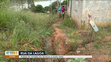 Moradores reclamam de condições de estrada que leva à lagoa Juparanã, em Linhares, ES - Veja a reportagem.