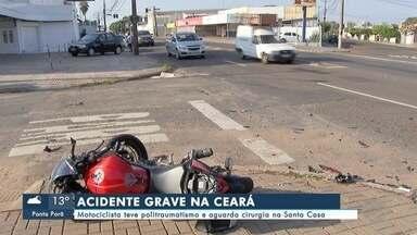 Motociclista fica gravemente ferido após acidente na capital - Trânsito
