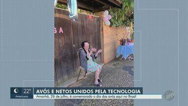 No Dia dos Avós, idosos e netos mantêm a união por meio da tecnologia - Chamadas de vídeo são uma das alternativas para matar a saudade em meio à pandemia do novo coronavírus.