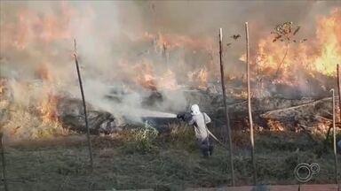 Incêndio atinge área de mata no Jardim São Lucas em Votorantim - Um incêndio de grandes proporções atingiu uma área de mata no Jardim São Lucas, em Votorantim (SP), no início da tarde deste sábado (25).