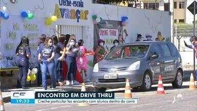 Creche particular promove encontro de alunos com professores em drive-thru - Saiba mais em g1.com.br/ce