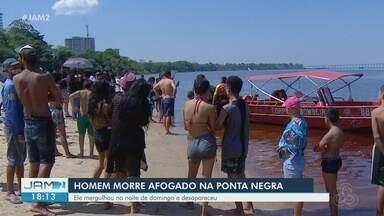 Corpo de homem é encontrado na Ponta Negra, em Manaus - Ele mergulhou na noite de domingo e desapareceu.