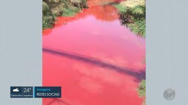 Água de córrego fica vermelha na zona Norte de Ribeirão Preto, SP - Equipes do Daerp e da Cetesb tentam identificar o que causou a mudança.