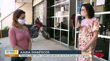 Pacientes podem retirar canetas de insulina de graça, em Cachoeiro de Itapemirim, no ES - Veja a reportagem.