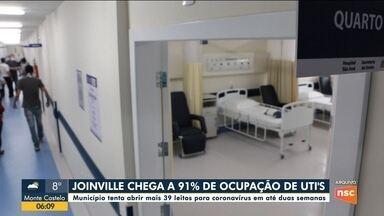 Joinville registra ocupação total de 91% dos leitos de UTI - Joinville registra ocupação total de 91% dos leitos de UTI