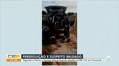 Perseguição acaba com suspeito de realizar assaltos baleado - Saiba mais no g1.com.br/ce