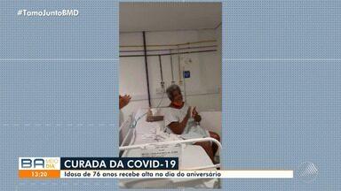 Idosa de 76 anos, contaminada pela doença, recebe alta hospital no dia do aniversário - Confira.
