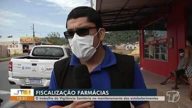 Vigilância Sanitária continua monitorando o funcionamento de farmácias de Santarém - Locais onde estão sendo realizados testes rápidos estão sendo visitados.