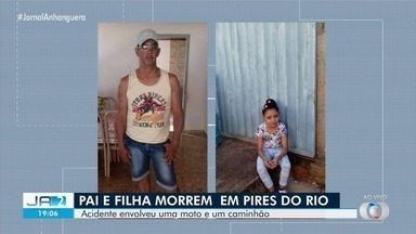 Pai e filha morrem em acidente de moto em Pires do Rio - Acidente envolveu a moto da família e um caminhão.