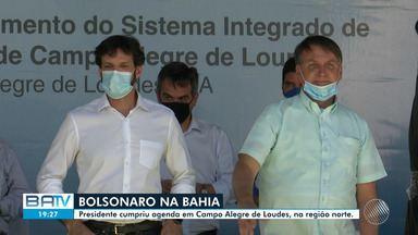 Em visita à Bahia, Bolsonaro inaugura sistema de abastecimento de água norte do estado - Inauguração da segunda etapa do sistema hídrico aconteceu na manhã desta segunda-feira (30). Em discurso, presidente falou que 'ninguém governa sozinho'.