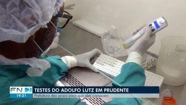 Testes do Instituto Adolfo Lutz para diagnósticos de Covid-19 serão feitos em Prudente - Prefeitura deu prazo para que sejam iniciados.
