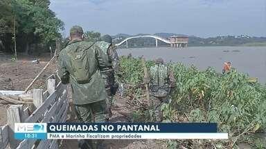 Queimadas no Pantanal: PMA e Marinha fiscalizam propriedades - Queimadas no Pantanal: PMA e Marinha fiscalizam propriedades