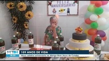 Idosa, moradora do Abrigo Bom Jesus de Cuiabá, celebra 109 anos - Idosa, moradora do Abrigo Bom Jesus de Cuiabá, celebra 109 anos.