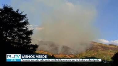 Semana é marcada pela perda ambiental provocada por incêndios em Petrópolis, no RJ - Cidade Imperial teve quatro incêndios florestais. As chamas se alastraram por uma área equivalente a 673 campos de futebol.