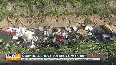 Moradores de Campinas reclamam de lixo em córregos da região central - Vídeo mostra situação do córrego Serafim na Avenida Orosimbo Maia.