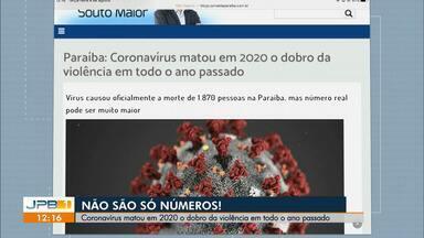Paraíba tem 84.211 casos confirmados e 1.870 mortes por coronavírus - Coronavírus matou em 2020 o dobro da violência em todo ano passado.