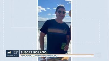 Quarto dia de buscas ao advogado desaparecido no lago - Mergulhadores procuram o advogado desaparecido desde sábado, quando participou de uma festa numa lancha.