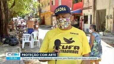O toque de artistas transformando máscaras para distribuição em áreas vulneráveis - Saiba mais em: g1.com.br/ce