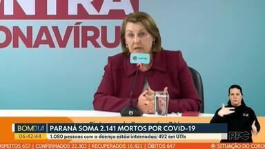 Paraná soma 2.141 mortos por Covid-19 - 1.080 pessoas com a doença estão internadas, sendo 492 em UTIs.