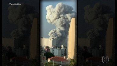 'Sobreviver foi um milagre', diz libanês que viu de perto a explosão em Beirute - Suspeita é de que explosão que deixou mais de 150 mortos na terça-feira (4) tenha partido de um armazém que guardava nitrato de amônio. O Fantástico conversou com pessoas que viram de perto a catástrofe.